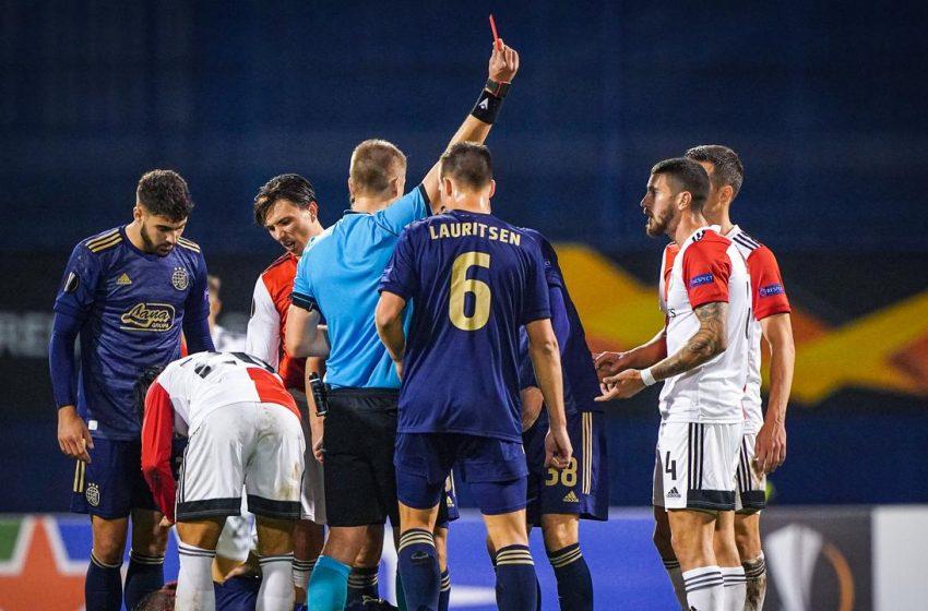 Steven Berghuis perde pênalti, Marcos Senesi é expulso e Feyenoord volta da Croácia com um ponto