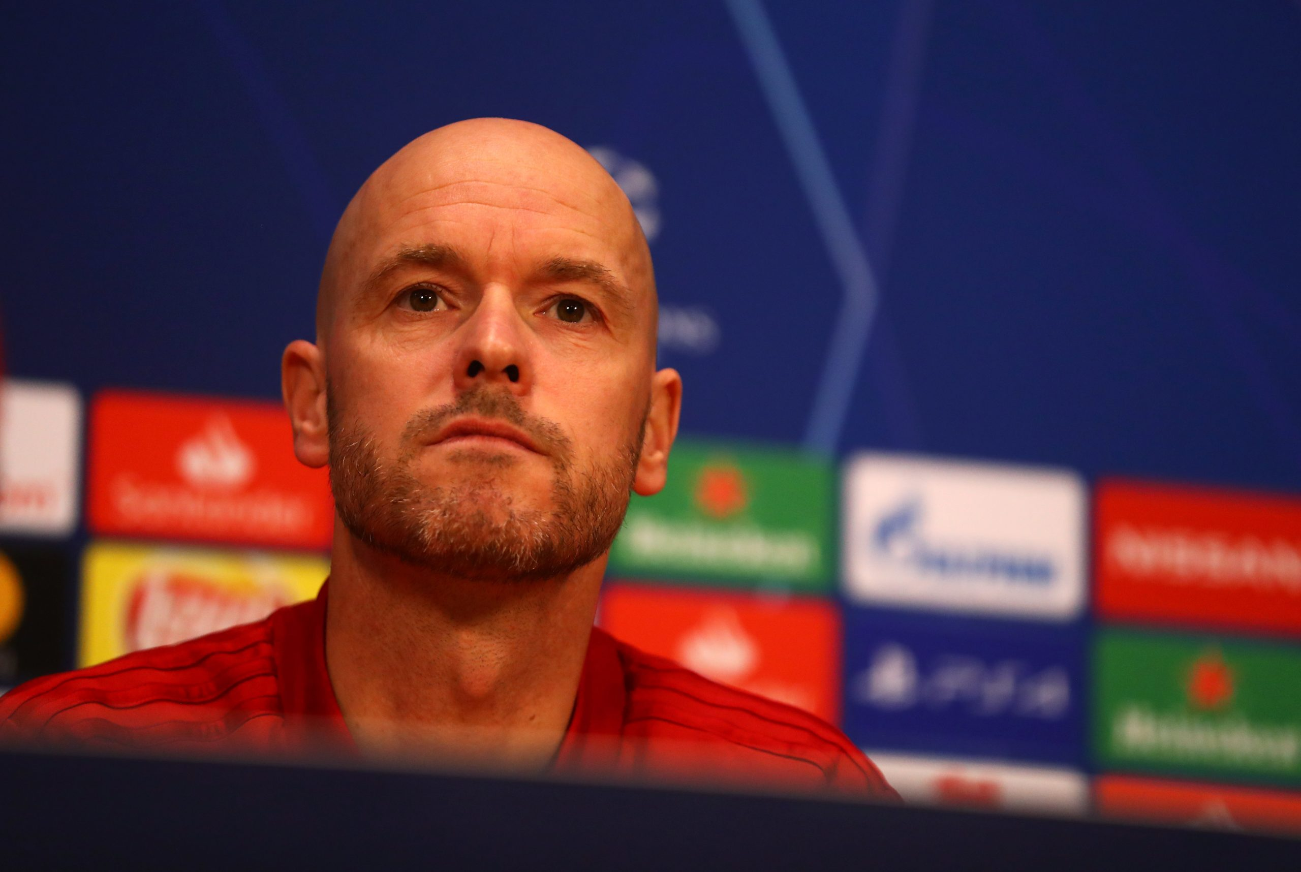 AMSTERDAM, NETHERLANDS – MAY 07:  Erik Ten Hag, Manager of Ajax looks on during an Ajax press conference on the eve of their UEFA Champions League semi final against Tottenham Hotspur at Johan Cruyff Arena on May 07, 2019 in Amsterdam, Netherlands. (Photo by Dean Mouhtaropoulos/Getty Images)