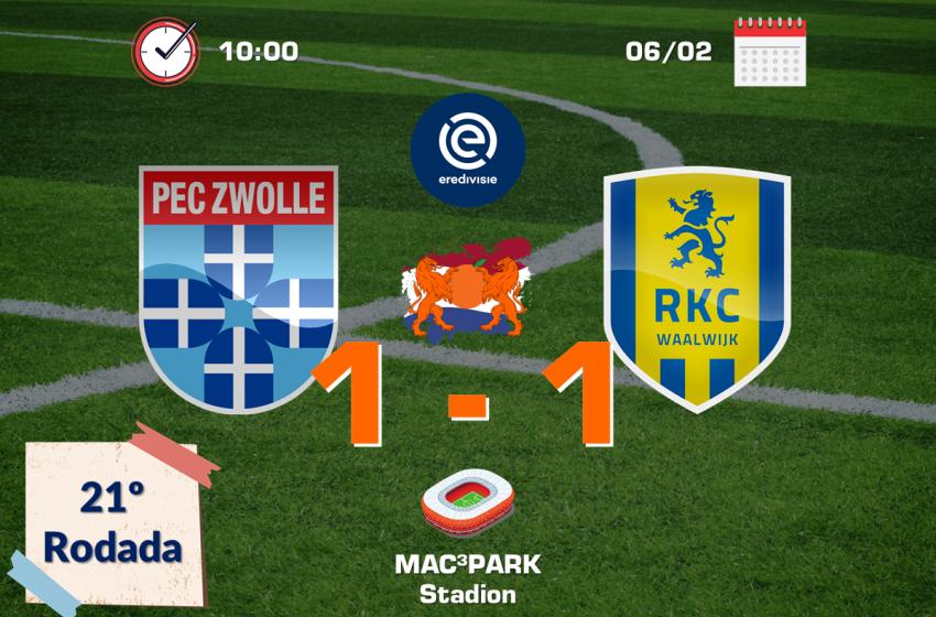PEC Zwolle e RKC Waalwijk ficam no empate em 1 a 1