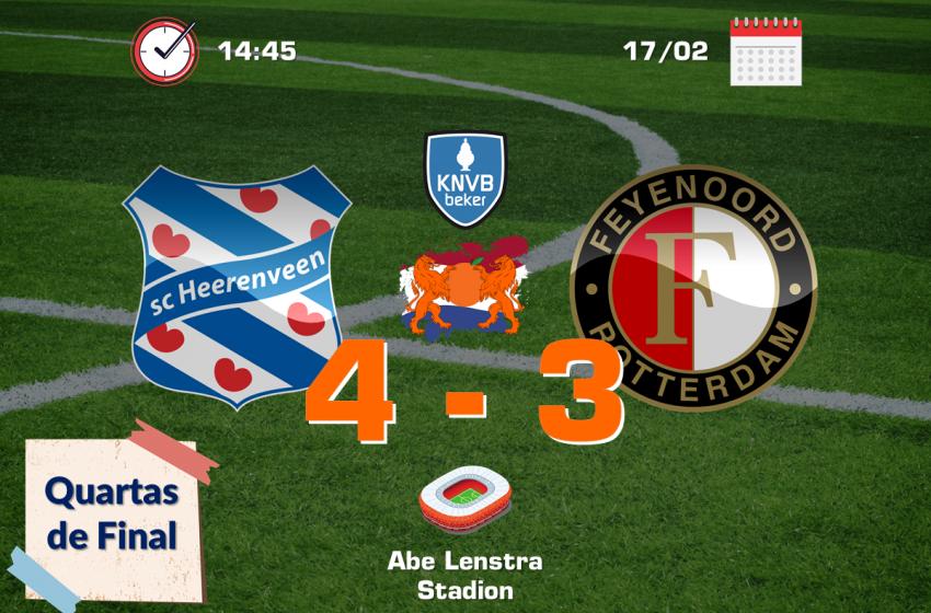 Jogador expulso, pênalti perdido e virada histórica, foi assim que o SC Heerenveen avançou para a semifinal da Copa da Holanda