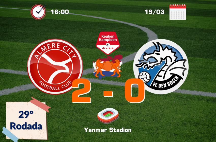 Almere City FC bate FC Den Bosch em casa e assume a terceira colocação