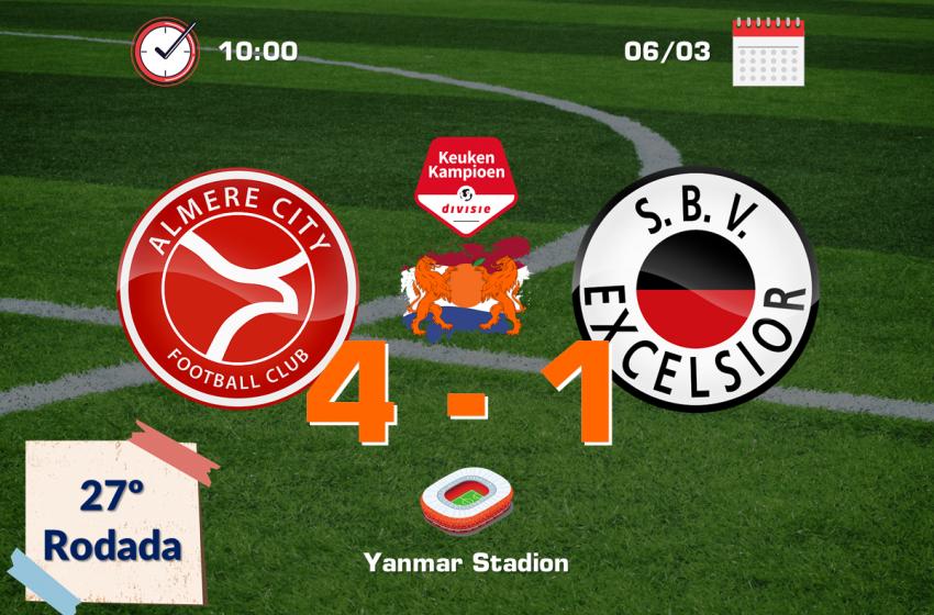 Almere City vence e continua na briga pelo acesso direto para a Eredivisie