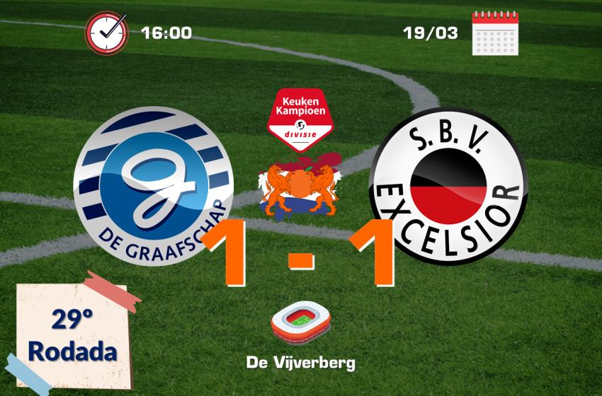 De Graafschap e SBV Excelsior ficam no empate em 1 a 1 no De Vijverberg