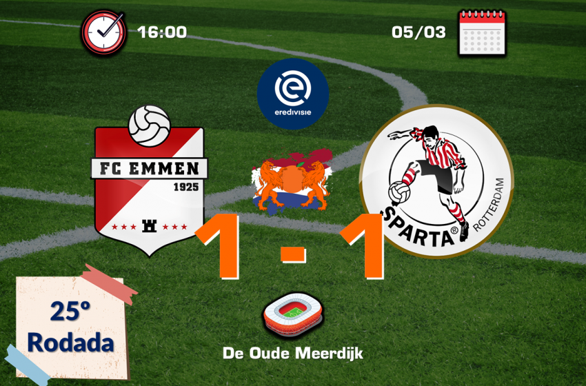 Nos acréscimos, FC Emmen conquista ponto importante diante do Sparta Rotterdam