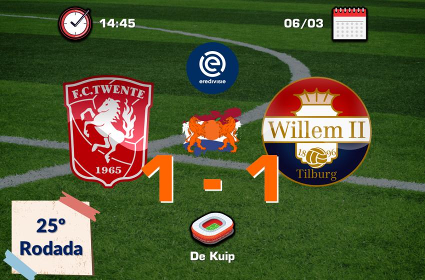 FC Twente e Willem II empatam em 1 a 1