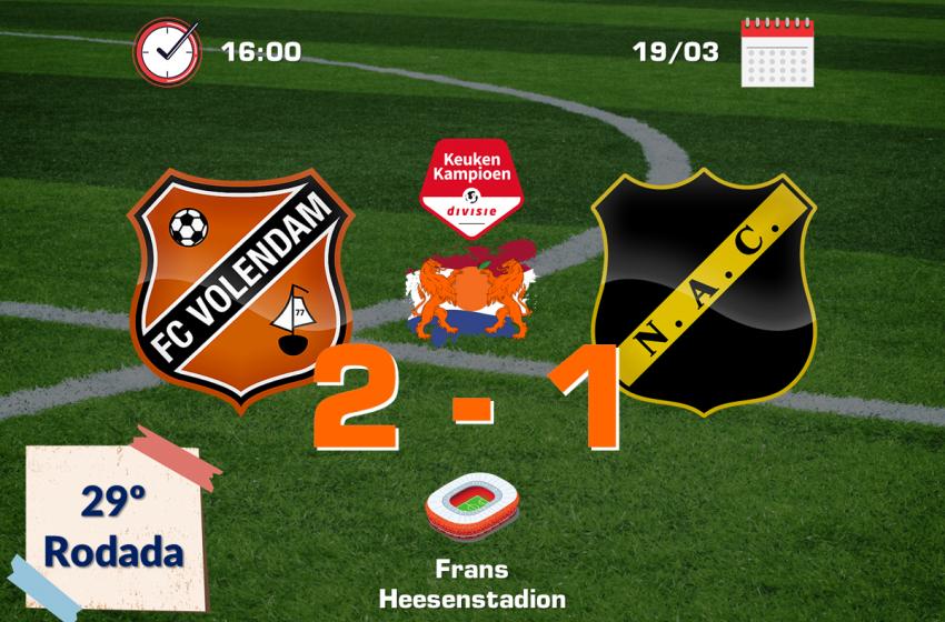 FC Volendam faz frente ao NAC Breda e acaba com sequência de sete vitórias consecutivas dos Bredanaars