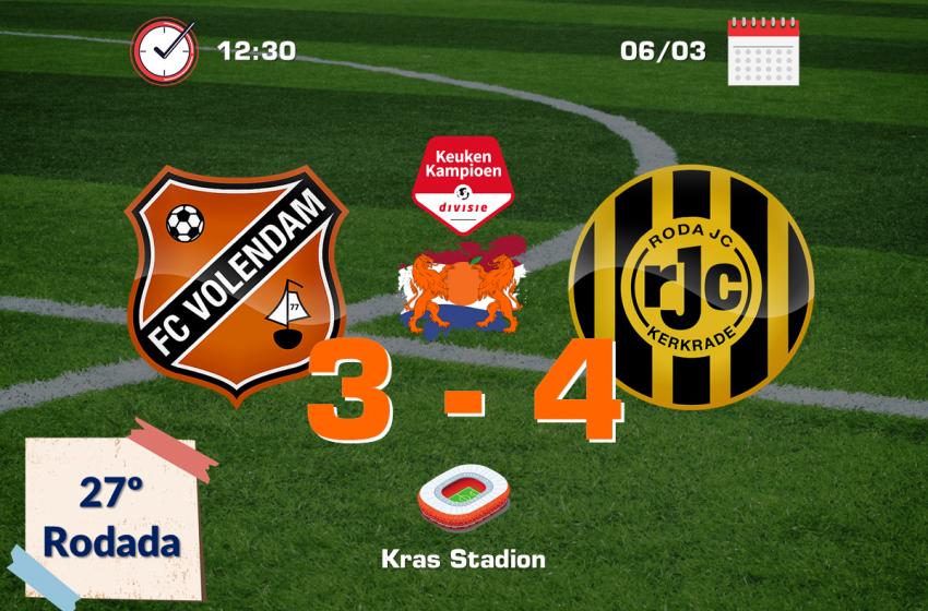 Roda JC vira para cima do FC Volendam e derruba tabu de 22 anos