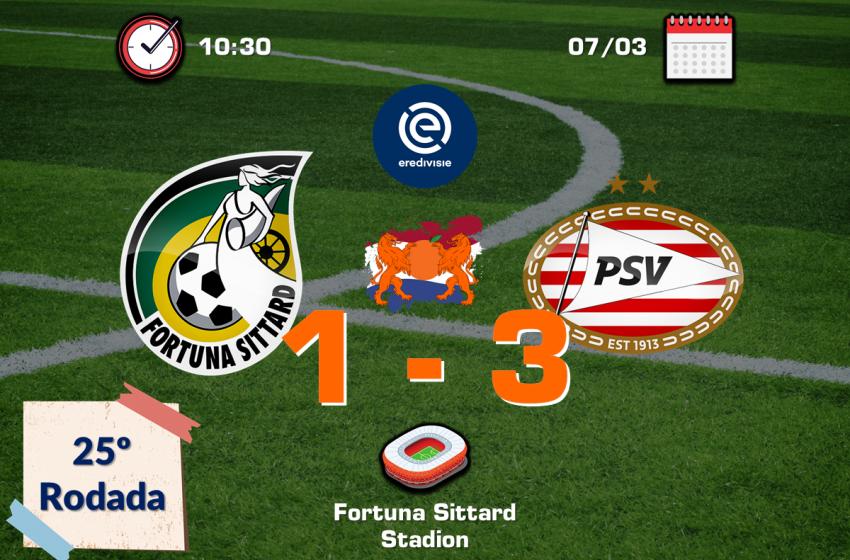 PSV bate Fortuna Sittard fora de casa e segue perseguindo o Ajax