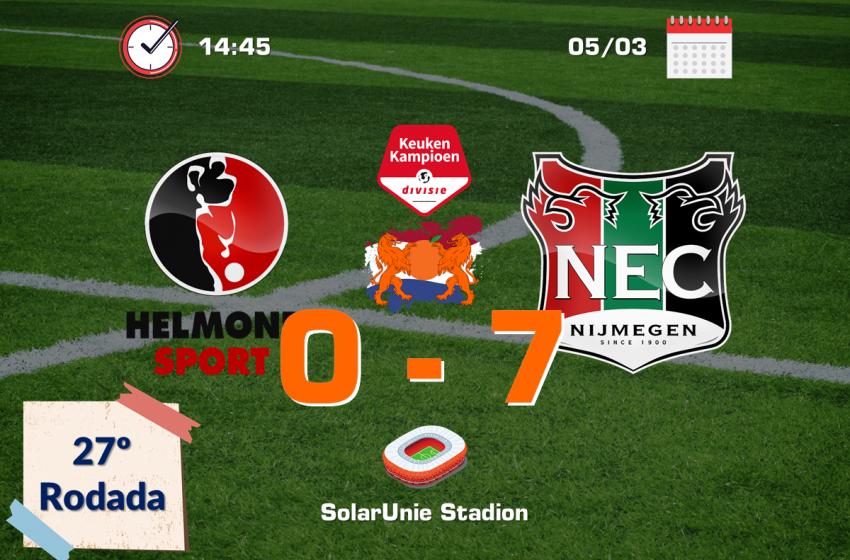 NEC Nijmegen bate Helmond Sport por 7 a 0 com um jogador a mais