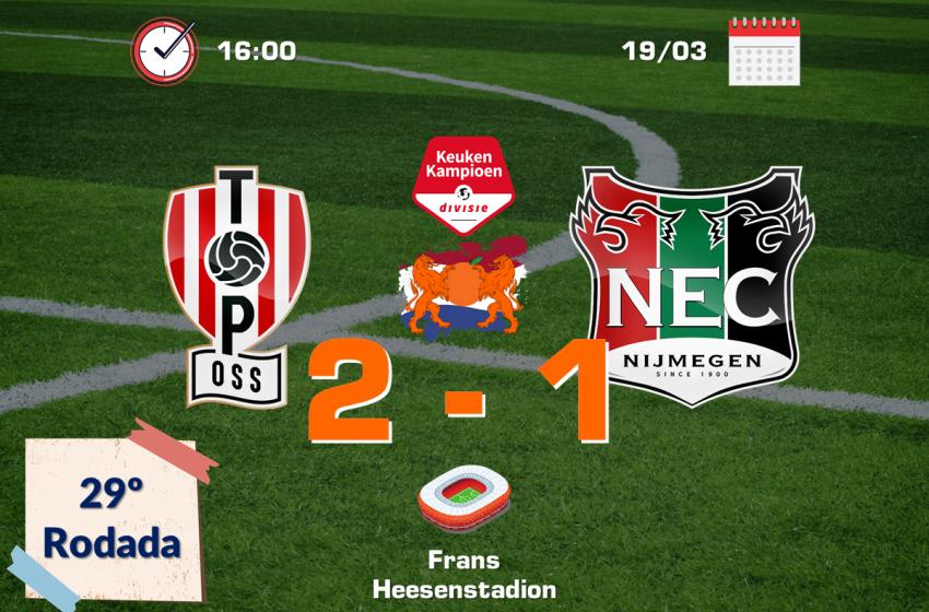 Com um jogador a menos e de virada, o TOP Oss bateu o NEC Nijmegen por 2 a 1