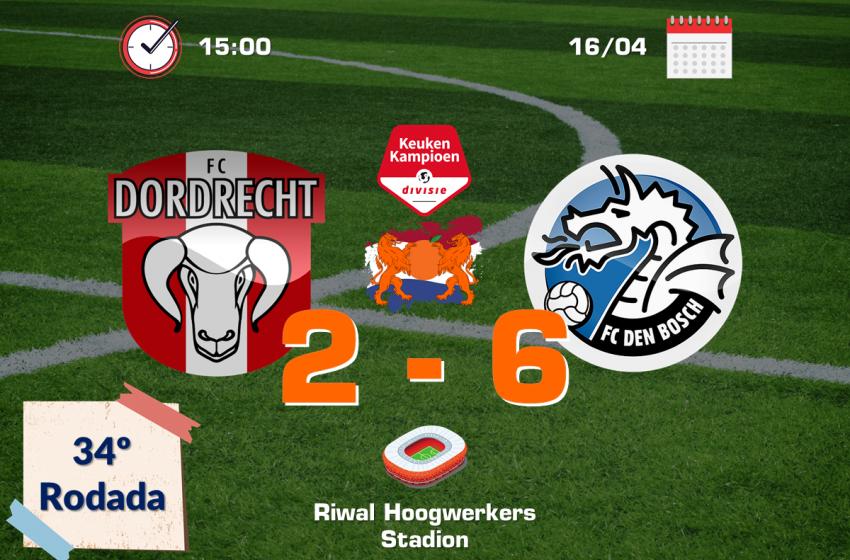 FC Den Bosch bate FC Dordrecht por 6 a 2 e mantém tabu de oito anos