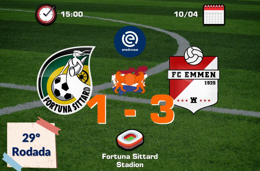 Paul Gladon tem dois gols anulados, mas FC Emmen vence fora de casa o Fortuna Sittard por 3 a 1
