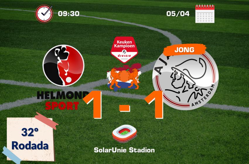 Jong Ajax empata em 1 a 1 contra o Helmond Sport