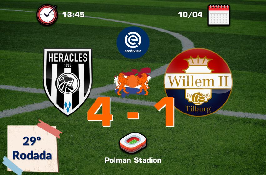 Rai Vloet brilha com dois passes e um gol e garante vitória maiúscula do Heracles Almelo diante do Willem II por 4 a 0