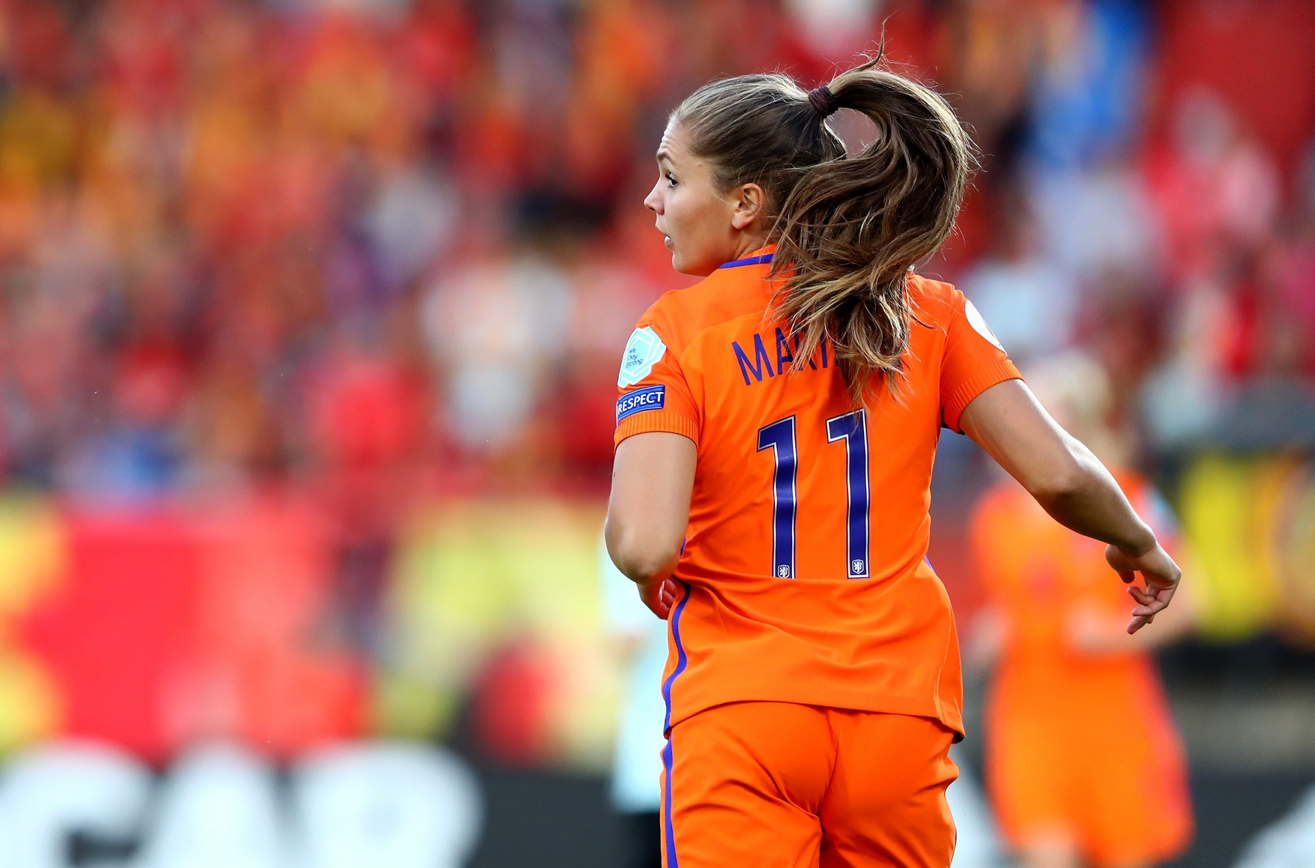 TILBURG, NETHERLANDS – JULY 24: Lieke Martens of Netherlands in action during the Group A match between Belgium and Netherlands  during the UEFA Women's Euro 2017 at Koning Willem II Stadium on July 24, 2017 in Tilburg, Netherlands.  (Photo by Dean Mouhtaropoulos/Getty Images)