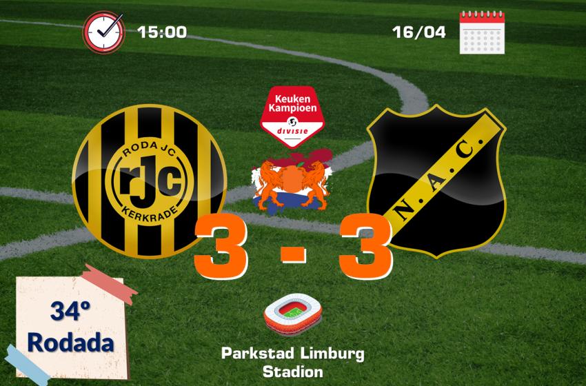 Em jogo de seis gols, Roda JC Kerkrade e NAC Breda ficam no empate em 3 a 3