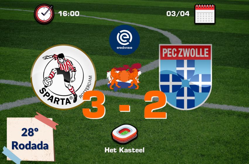Lennart Thy brilha e garante vitória do Sparta Rotterdam diante do PEC Zwolle por 3 a 2