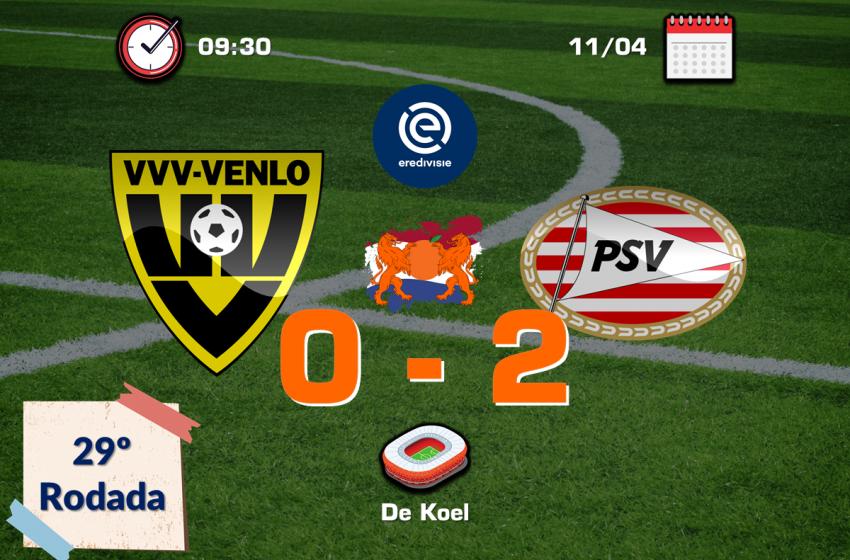 PSV vence VVV-Venlo por 2 a 0 e agrava crise do VVV-Venlo que acumula dez derrotas seguidas