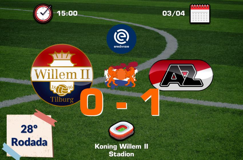 Teun Koopmeiners é expulso, deixa AZ Alkmaar com menos um, mas equipe de Alkmaar vence Willem II pelo placar mínimo