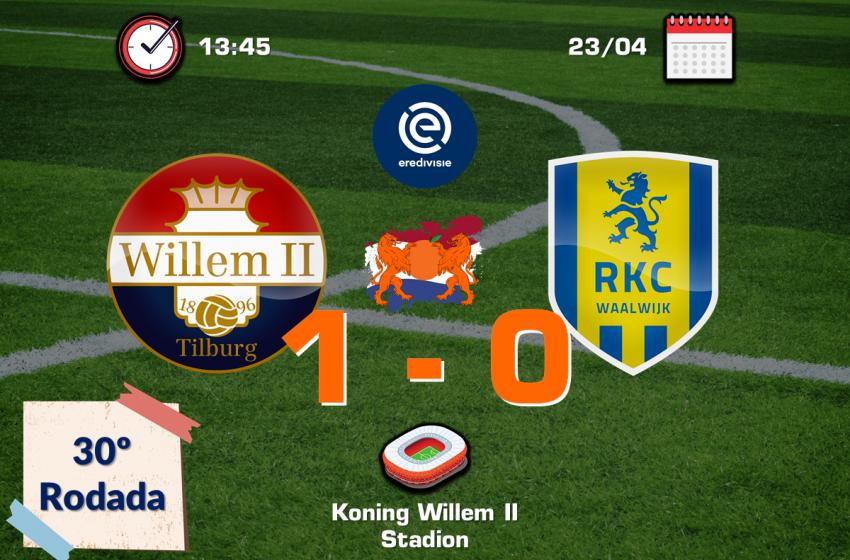 Vangelis Pavlidis garante vitória do Willem II por 1 a 0 em cima do RKC Waalwijk