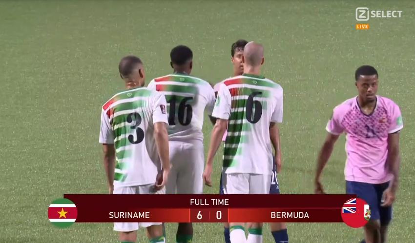 Nigel Hasselbaink marca três vezes e Suriname vence Bermuda por 6 a 0